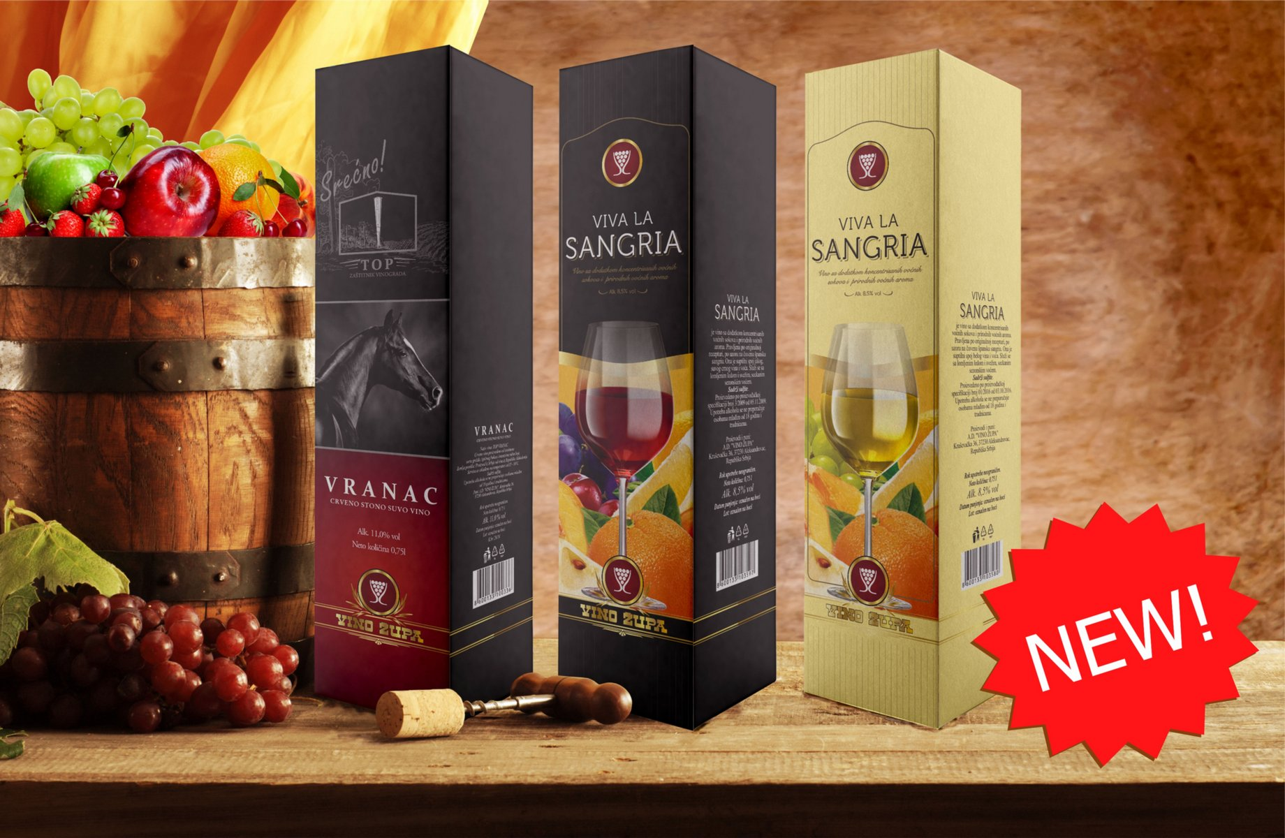 Vranac and Sangria wines in the box